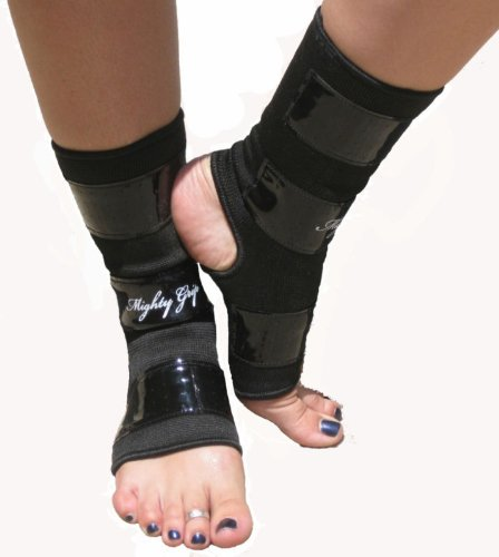 Large Black Mighty Grip Pole Dancing Ankle Protectors with Tack Strips for Gripping the Pole (1 pair)