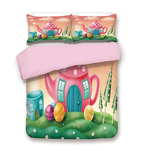 ,FULL Size,Fantasy Teapot and Teacup Houses Wonderland Meadow Teatime Happiness Artwork,Decorative 3 Piece Bedding Set with 2 Pillow Sham,Best Gift For Girls Women,Pink Green ()