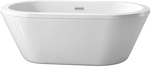 Schon Colton 5.25 ft. Center Drain Freestanding Bathtub in Glossy White