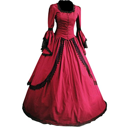 [Partiss Women Lace Floor-length Gothic Victorian Dress,XXL,Winered] (Victorian Era Dress)