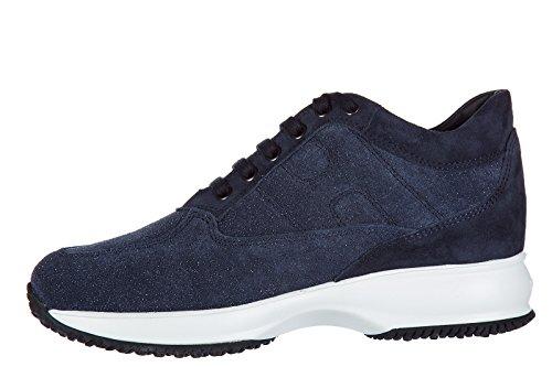 Zapatos De Mujer Hogan Zapatillas De Deporte De Ante Sneakers Interactive Blu