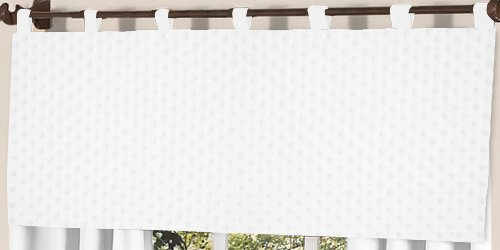 Sweet Jojo Designs Solid White Minky DotWindow Valance ()
