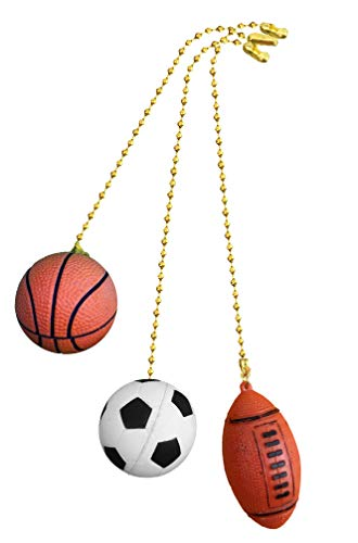 Basketball, Soccer Ball, Football fan Pull with beaded chain 3 pack - FA1000
