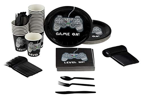 Video Game Party Supplies – Serves 24 – Includes Plates,
