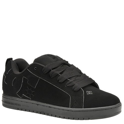 Mens Court Graffik Skate Shoes (DC COURT GRAFFIK Men's Skate 9.5 D(M) US Black-Black-Black-Suede)