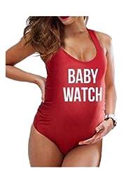 Andoky Moda Mujer Tallas Grandes Traje de baño Monokini Embarazada bañista Acolchado