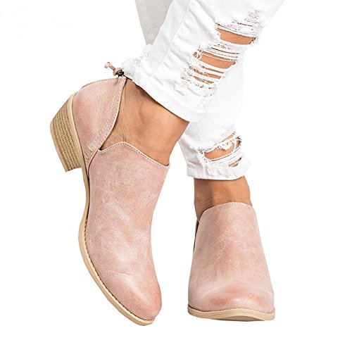 ShiningLove Women Fashion Concise Round Head Ankle Single Layer Boots Ultra-Light Low Tube Shoes Pink 41