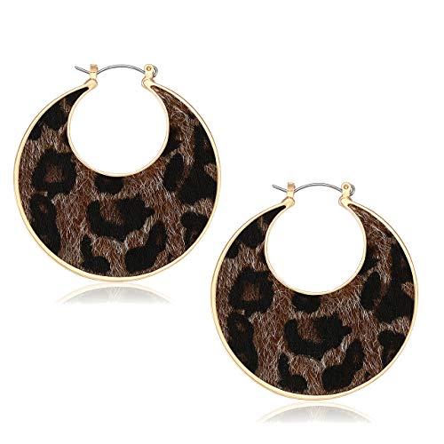 JYM JEWELRY Hoop Earrings for Women Leopard Fur Print Dangle Earrings Primitive Haircalf Drop Earrings Goldplated Crescent Moon Hoops