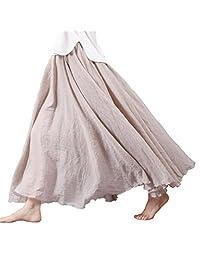 Nicetage Women Retro Elastic Full Length Pleated Maxi Long Skirt