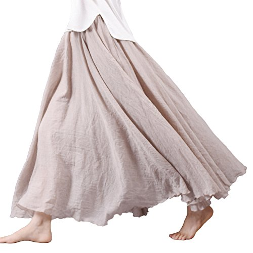 Nicetage Women Retro Vintage Double Layer Cotton Pleat Maxi Long Skirt Dress (Ivory Pleated Skirt)