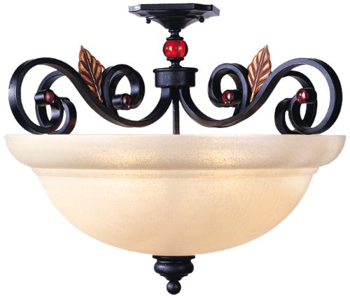 Livex Lighting 4439-56 Semi Flush Mount with Iridescent Art Glass and Amber Jewel Accents Shades, Copper Bronze with Aged Gold Leaves