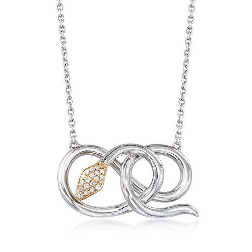 Ross-Simons 0.11 ct. t.w. Diamond Coiled Snake Pendant Necklace in Sterling Silver and 14kt Yellow Gold ()