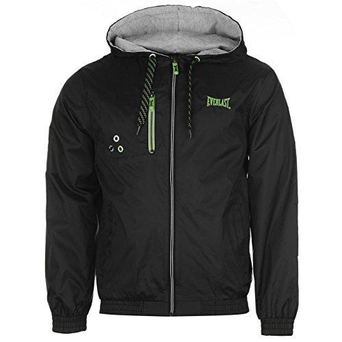 Everlast Geo Herren Regenjacke Windjacke Leicht Freizeit Sportjacke Taschen Black/Lime Medium