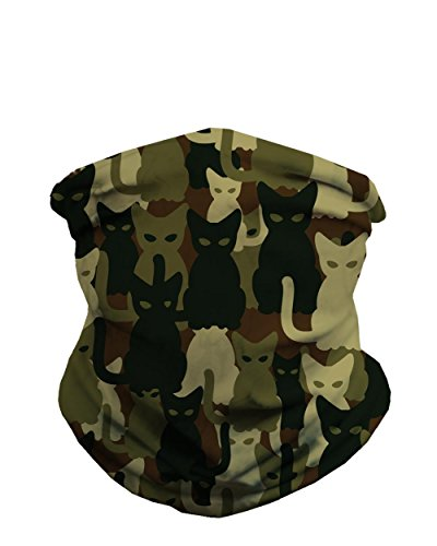 INTO THE AM Green Camouflage Cats Seamless Mask Bandana