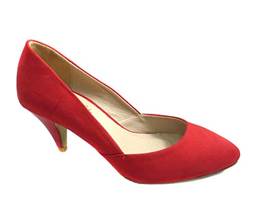Mid Heel Court Jane Shoes Formal Kitten Suede Red Party Wedding Womens Mary Ladies Low pwqIEycH