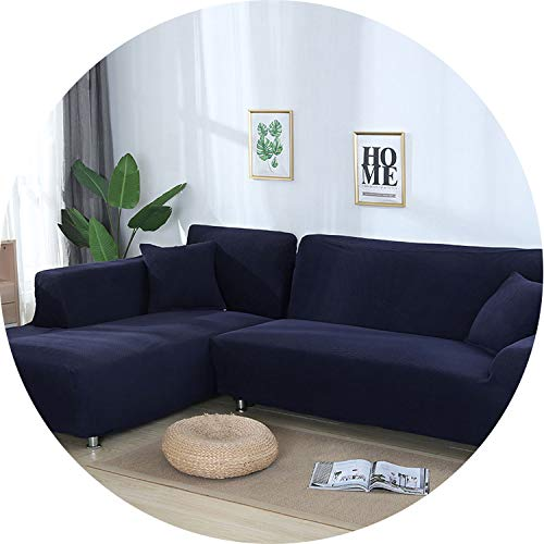 (Little-Kiwi 2 Pieces Covers for L Shaped Sofa Jacquard Stretch Elastic Corner Sofa Cover Living Room Chaise Lounge Couch Covers Sectional,Navy Blue,235-300cm 235-300cm)
