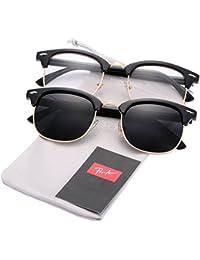 (Pack de 2) Semi Rimless Clubmaster anteojos De Sol Polarizadas para hombres mujeres
