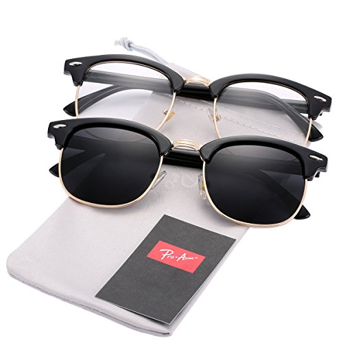 Pro Acme (Pack of 2) Semi Rimless Polarized Clubmaster Sunglasses for Men Women (Bright Black Frame/Black Lens + Bright Black Frame/Clear - Rimless Tag Glasses