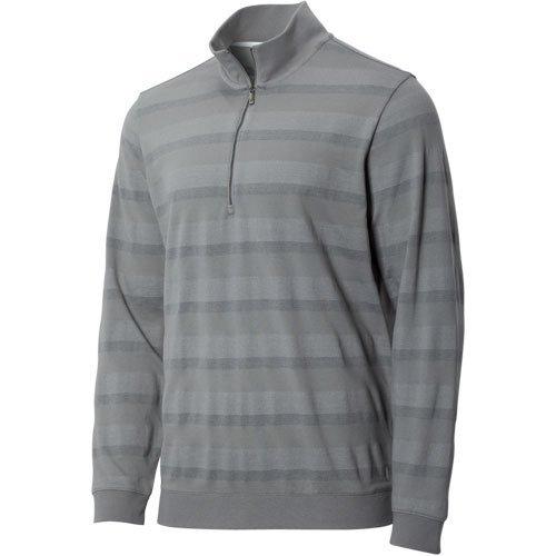 Ashworth 1//4 Zip Stripe Pullover Medium Grey S