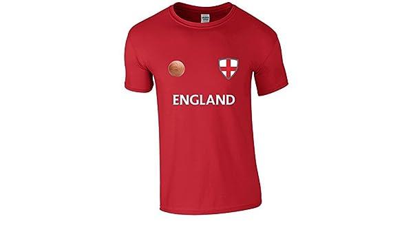 EBUK Mundial Inglaterra 2018 Fútbol Retro Informales Camiseta Hombre No Oficial - Rojo, Large: Amazon.es: Ropa y accesorios
