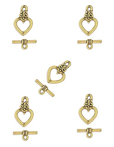 (10 Pcs 17 x 13mm Antiqued Gold Pewter Heart Toggle Clasp)