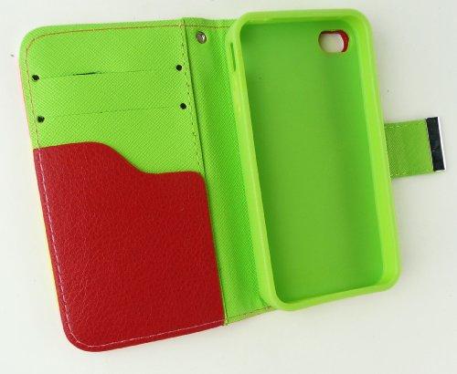Emartbuy® De Apple Iphone 4G / 4Gs / 4S Lujo Escritorio La Carpeta Del Soporte Caso / Cubierta / Bolsa Bloques De Color De Rosa / Amarillo / Blanco Con Ranuras Para Tarjetas De Crédito