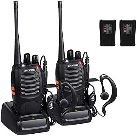 Walkie Talkies, Sunreal BF-888S Long Range Rechargeable Two Way Radios with Original Earpiece Pack of 2