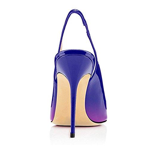 Avec Femmes Aiguille Stilettos Chaussures Violet Femme 12cm Haute Talon bleu Grande Ubeauty Escarpins Taille Talons TaSqZwxTPU
