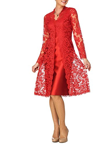 Dreammade Women's Satin Scoop Neck Lace Two Piece Sheath Mother of Bride Dress (18, Red)