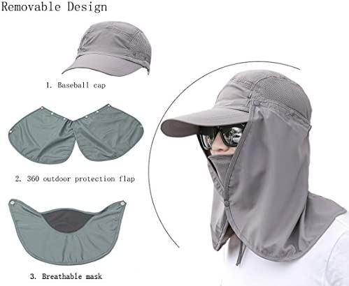 JITTY Sun Cap UV Protection Removable Neck Face Flap Cover Caps for Summer Outdoor Hiking Fishing Gardening Hunting Camping