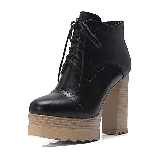 Hiver 32 Plus Chunky Chaussures Black Motos 42 Bottes Hauts Femme Taille Femmes Meilleure Cheville Hoesczs Talons Qualité XikPZu