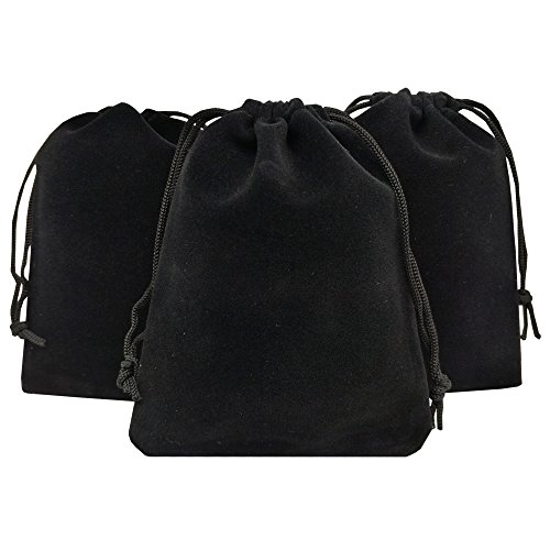 Ankirol 50pcs Velvet Drawstring Bags Jewelry Bags Pouches (Black, 5