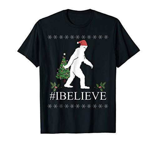 Yeti I Believe Christmas Ugly T shirt Holiday Gift Tee ()