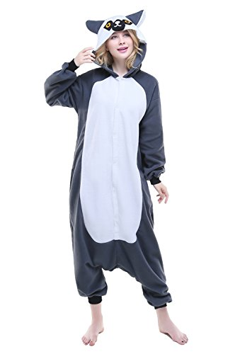 Newsiamese Adult Halloween Ring-tailed Lemur Cosplay Pajama Unisex Youth Costume (XL(suitable for: (Ring Tailed Lemur Halloween Costume)