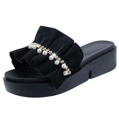 Taoffen Femmes Épaisses Semelles Mules Pantoufles Sandales Chaussures Noires