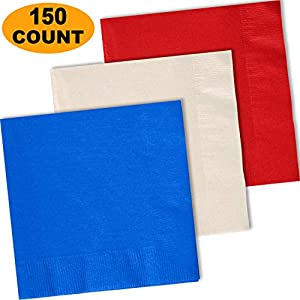 "150 Lunch Napkins, Cobalt Blue, Ivory, Red - 50 Each Color. 2 Ply Paper Dinner Napkins. 6.5"" folded, 13.5"" unfolded."