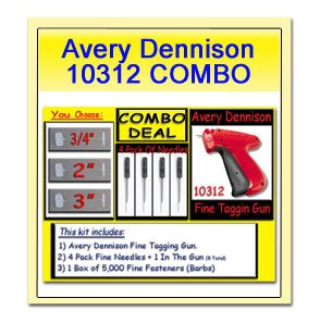 Avery Quilt - Avery Dennison 10312 Fine Tagging Gun with 5000 Avery Dennison 3/4 Inch Barbs and 4 Avery Dennison Replacement Needles