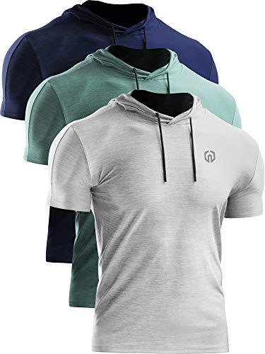 Neleus Men's 3 Pack Dry Fit Running Shirt Workout Athletic Shirt with Hoods,Navy Blue,Light Green,White,US L,EU XL