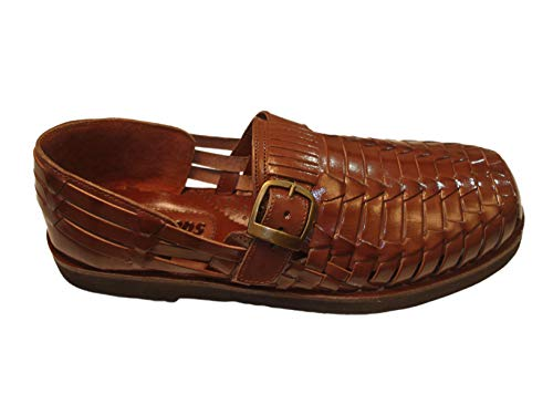Sunsteps Victor Men's Hand Woven Leather Huarache Sandal for All-Day Comfort (10.5M, Medium Brown)