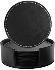Leather Coasters Set of 6 with Holder- Protect Furniture from Water Marks & Damage, PU Leather Drink Coasters Cup Mat