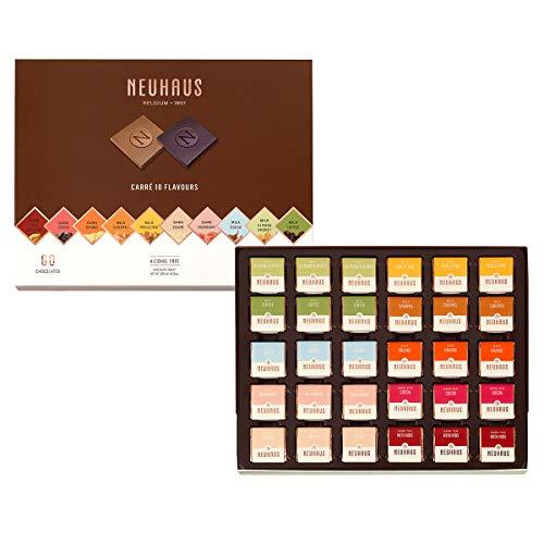 Neuhaus Belgian Chocolate Le Carré 10 Flavor Chocolate Squares (60 pieces) - Gourmet Milk, Dark, and Extra Dark Chocolate Assortment