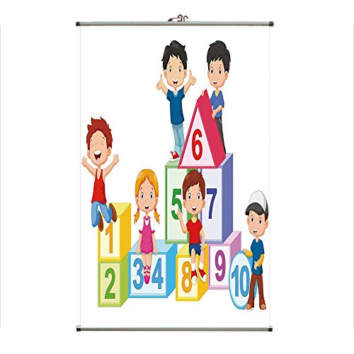 iPrint Wall Hanging Picture Wall Scroll Poster Fabric Painting,Girls with Number Blocks Triangle Rectangle,3D Print Design Personality Customization Make Your Room unique23.6 X23.6 ()