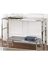 modern chrome metal and glass sofa console table narrow side table for living room - Skinny Console Table