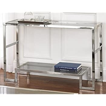 Contemporary Modern Chrome Metal And Glass Sofa Console Table Narrow Side Table