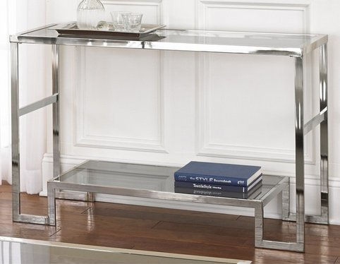 Contemporary Modern Chrome Metal and Glass Sofa Console Table - Narrow Side Table for Living Room - Hall Entryway Table - Hallway Furniture