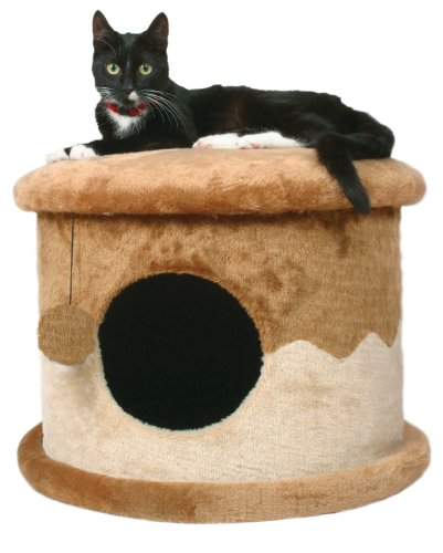 TRIXIE Pet Products Cozy Cat Cave (Brown/Beige) (House Plush Cat)