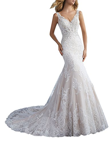 Nicefashion Women's Vintage V Neck Sequins Beaded Lace Trumpet Wedding Dress Chapel Train Bridal Gown White US2