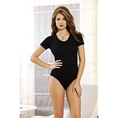NBB Women's Short Sleeve Top Round Scoop Neck Cotton Tight Romper Bodysuit Lingerie at Women's Clothing store