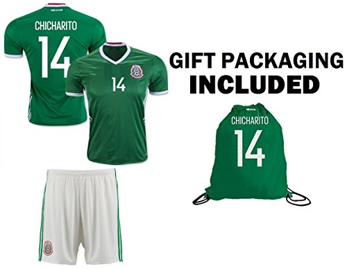 Chicharito #14 Kids Home Jersey + Shorts + Chicharito #14 Drawstring Backpack bag World Cup Futbol Jersey for Boys Football Fans (YS 6-8 years, Jersey Gift Set) (Team Soccer Backpack)