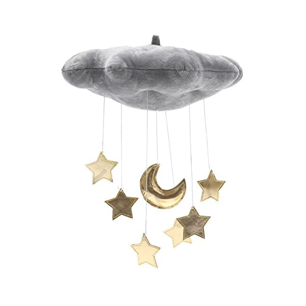 LIOOBO Baby Crib Mobile Decor Plush Cloud Star Moon Baby Bed Art Mobile Baby Photography Props Nursery Baby Rattle Mobile (Grey)